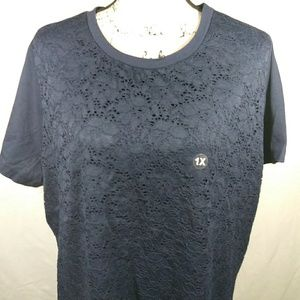 Basic edition navy blue lace pattern top
